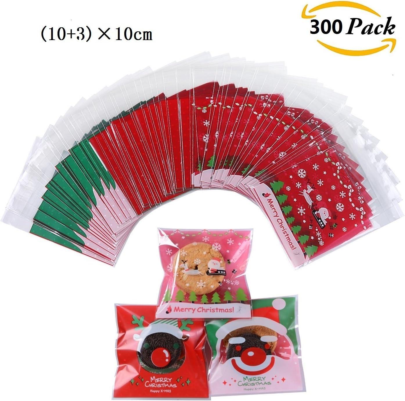 300pcs Bolsa de Caramelo Cajas de Tartas Cookie Panadería Biscuit Feliz Navidad Regalo Plástico (Christmas red)