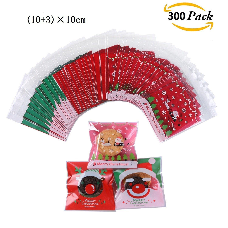 300pcs Bolsa de Caramelo Cajas de Tartas Cookie Panadería Biscuit Feliz Navidad Regalo Plástico (Big mouth) JOYEUX