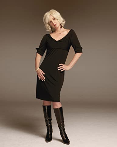 Mary Louise Parker Blonde Black Dress And Boots Full Modeling Photo