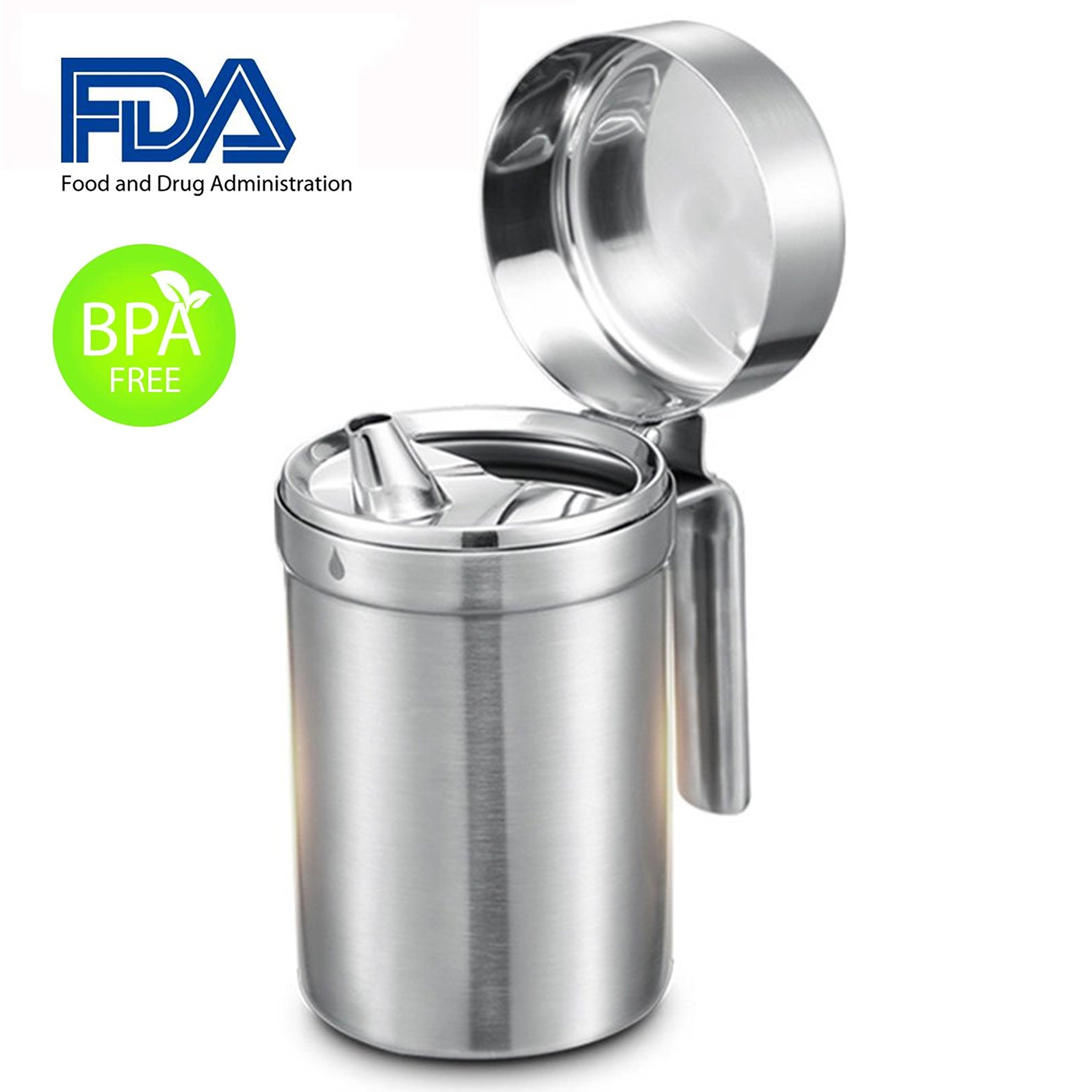 Oil Dispenser,Shrimp Stainless Steel Olive Oil Dispenser Oil Can Leak Proof Oil Storage with Lid Edible Oil container Salad Dressing for Kitchen Cooking/Restaurant /BBQ (18oz)