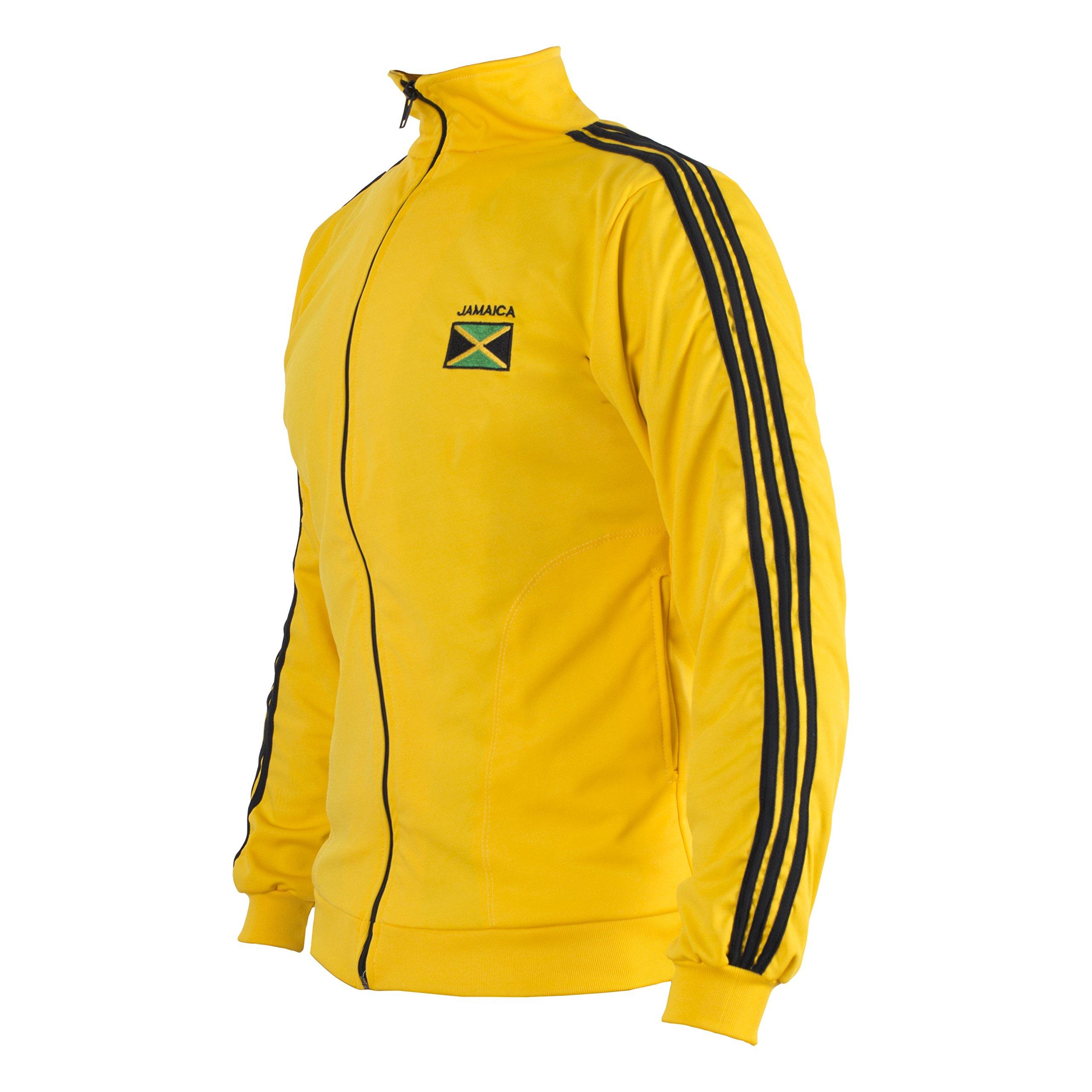 JL Sport Jamaican Flag Yellow Capoeira Zip-up Jacket Tracksuit Sweatshirt XXL