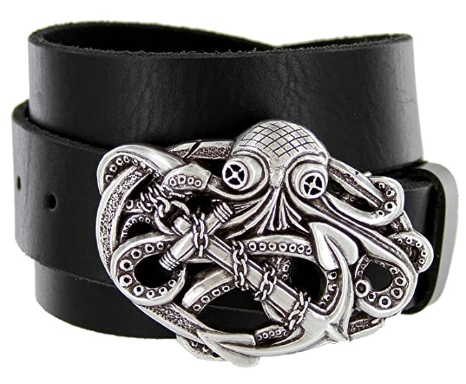 Men's Pirate Octopus Kraken Anchor Black Leather Belt