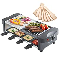 VonShef Appareil à Raclette -Grill + Raclette - Thermostat réglable - 8 personnes avec spatules et poêlons antiadhésifs