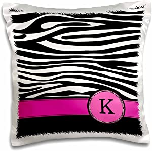 """3dRose pc_154282_1 Letter K Monogrammed Black and White Zebra Stripes Animal Print with Hot Pink Personalized Initial Pillow Case, 16"""" x 16"""""""