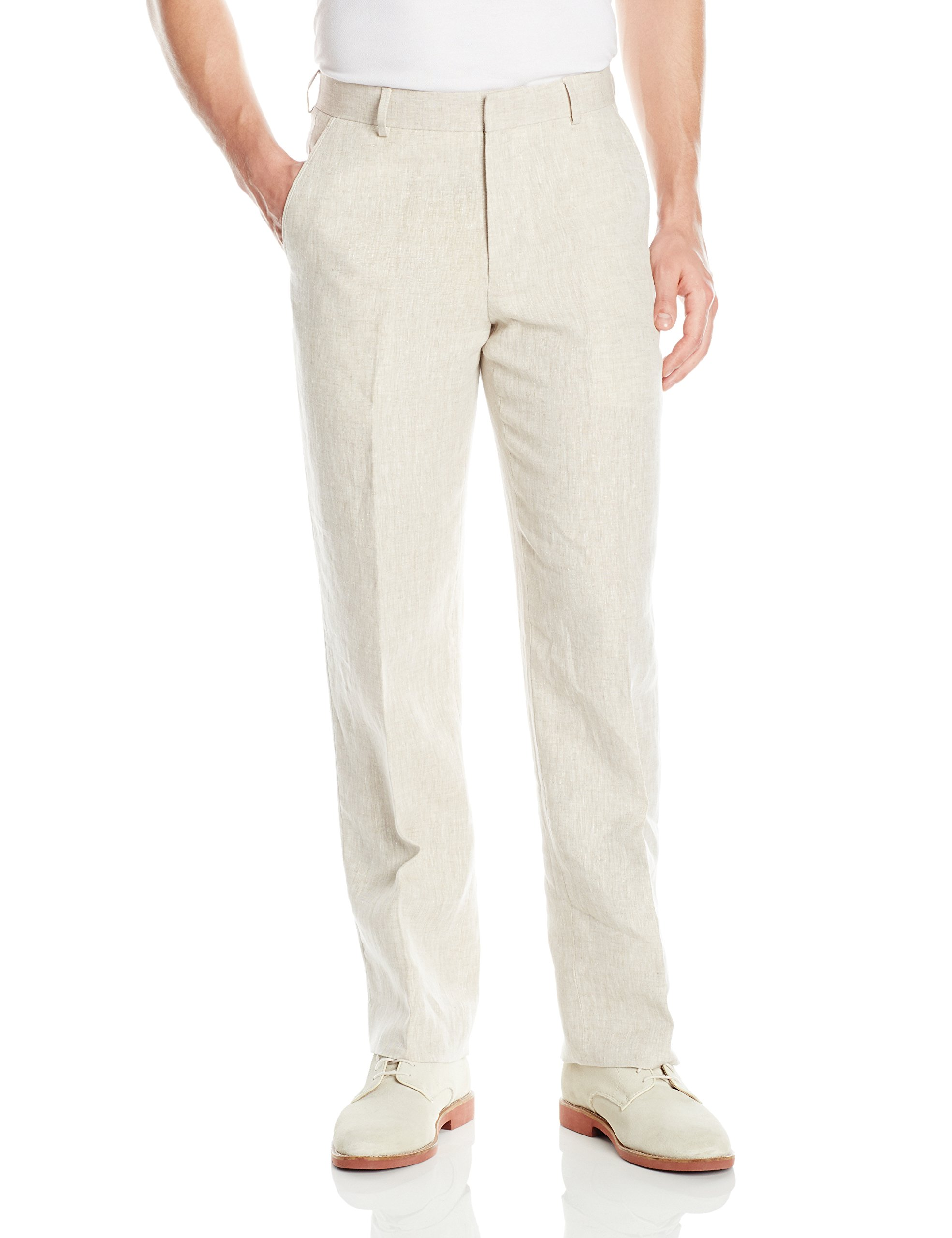 Palm Beach Men's Oxford Linen Plain Front Dress Pants, Natural, 36W Regular