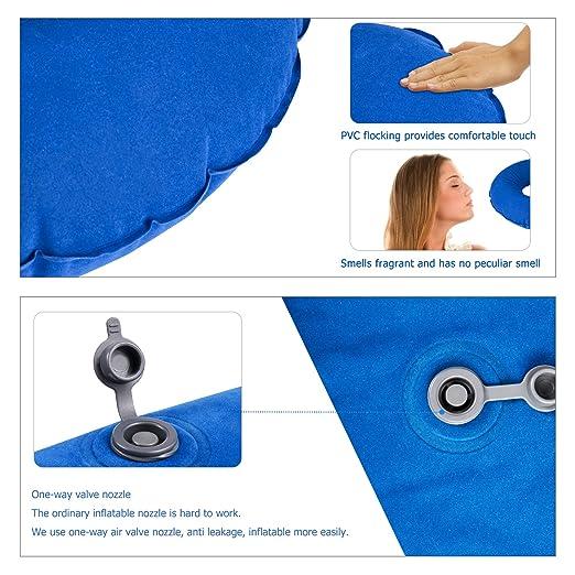 Almohada Inflable para el Cuello, HOMCA Almohada de Viajar Soporte para Cuello y Vértebras Cervicales, Super Suave y Compacta para Dormir en Aviones ...