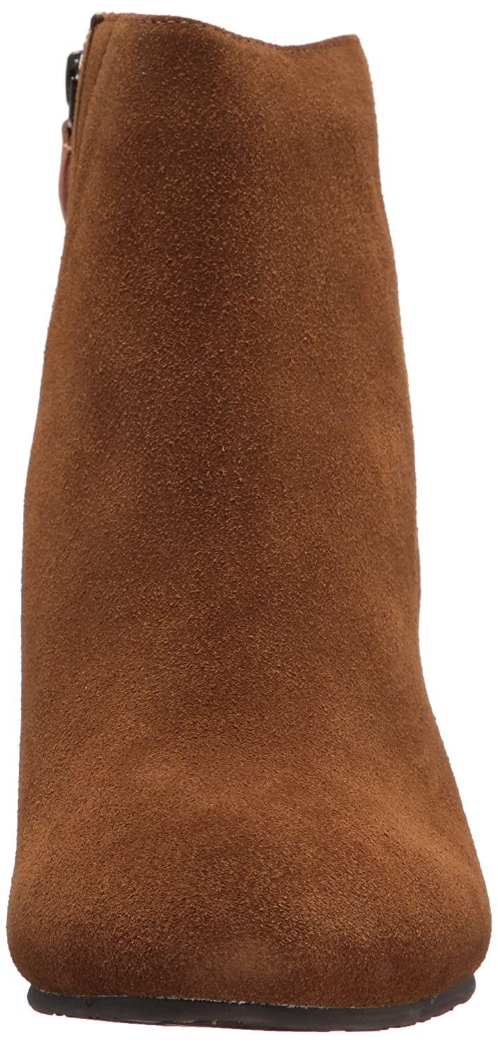 Gentle Souls by Kenneth Cole Women's Blaise Ankle Bootie with Side Zip, Covered Block Heel Suede Ankle Bootie B072F2MHVX 11 B(M) US|Walnut