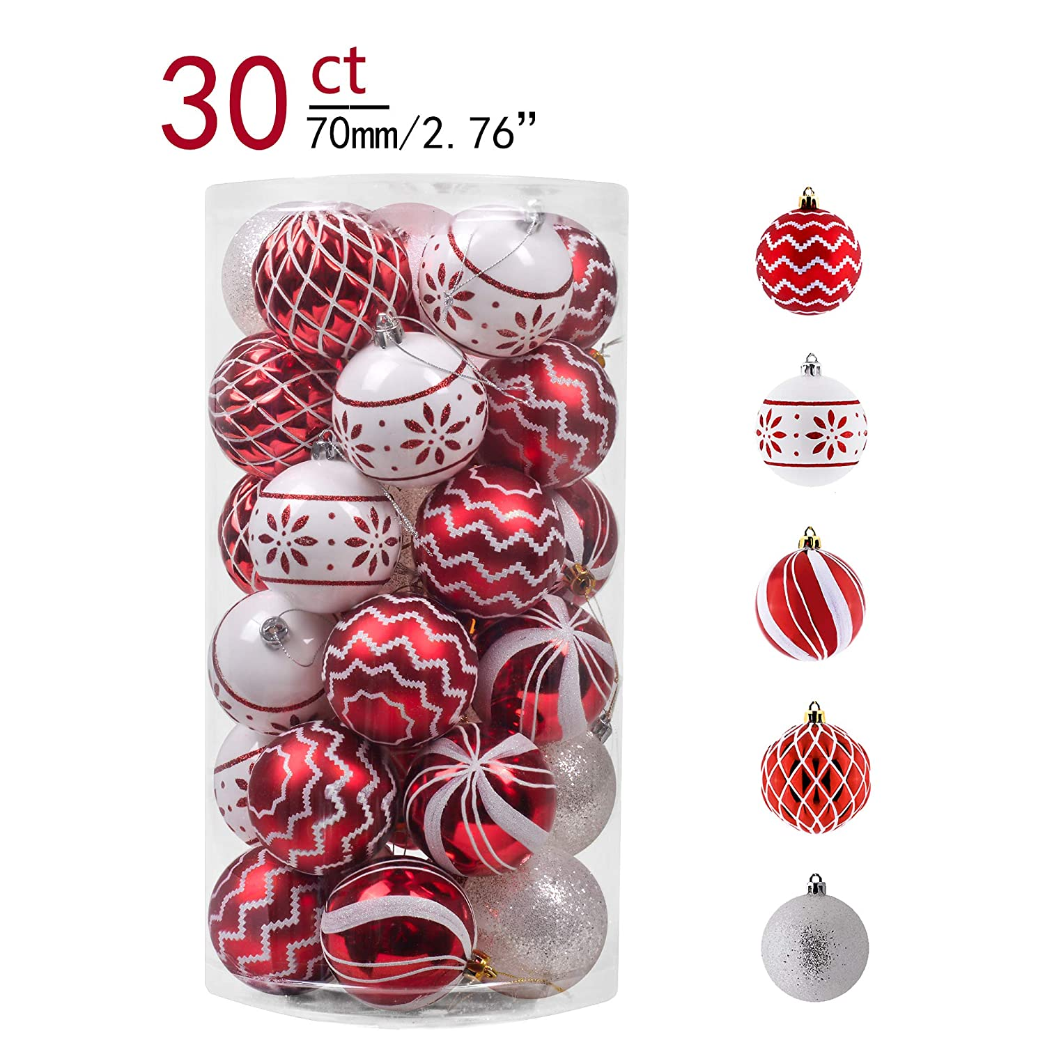 Teresa's Collections 30ct 70mm Traditional Red and White Shatterproof Christmas Ball Ornaments Decoration,Themed with Tree Skirt(Not Included)