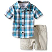 Calvin Klein Baby Boys' Yarn Dyed Plaid Woven Shirt and Twill Shorts, Multi, 3-6 Months