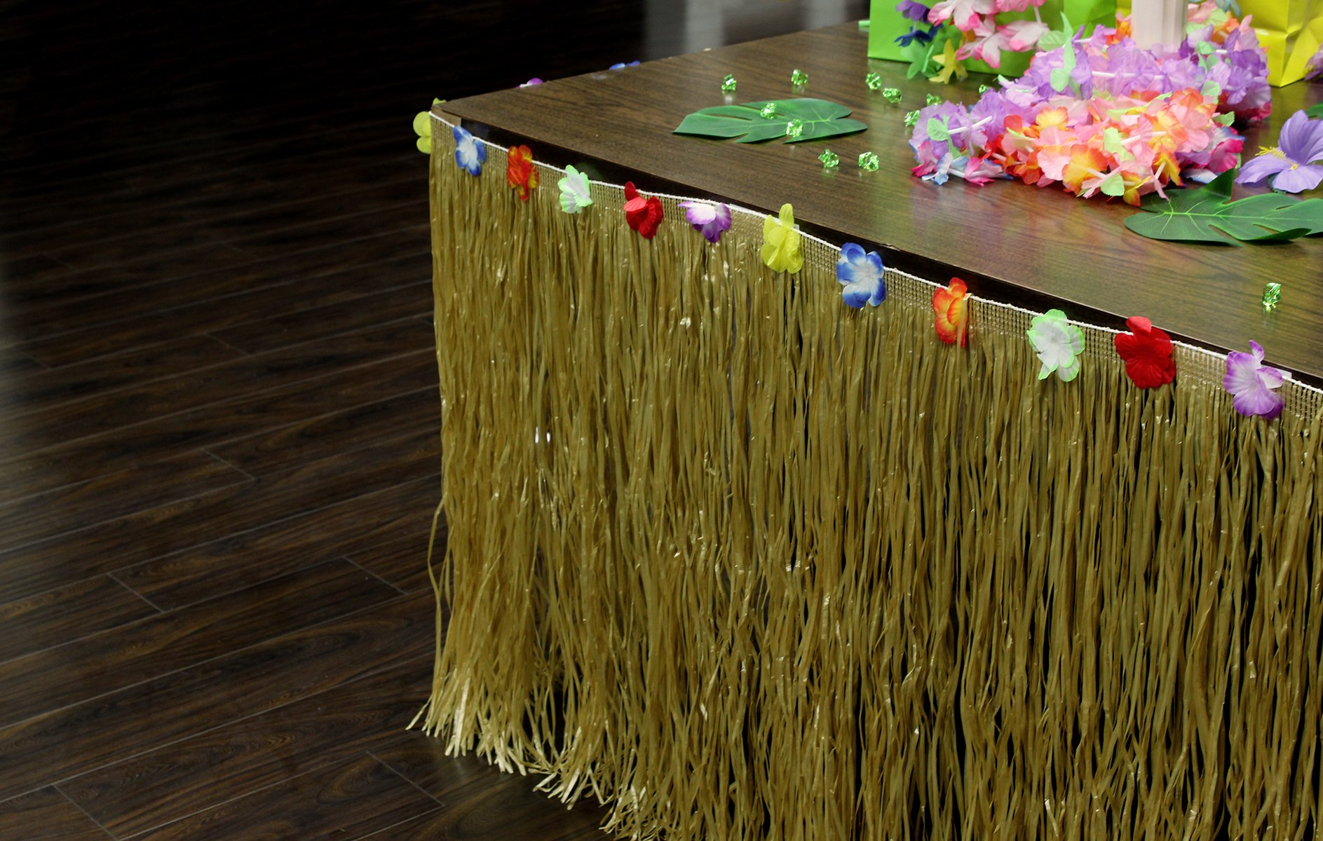Adorox 9ft Grass Table Skirt Hawaiian Luau Hibiscus Brown Table Skirt With 12 pc Tropical Green Leaves Party Decorations