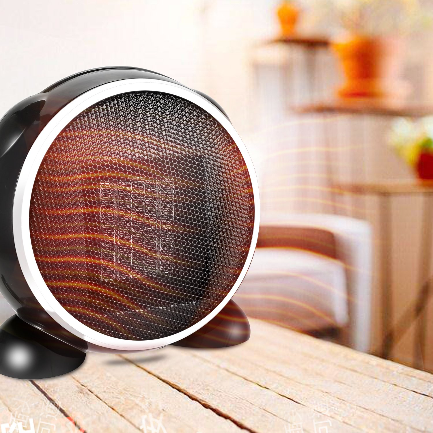 Kaluo Portable Mini Space Heater, 500W Oscillating Fan Heater with Over-Heating&Tip-Over Protection for Office Home Desk (Black)