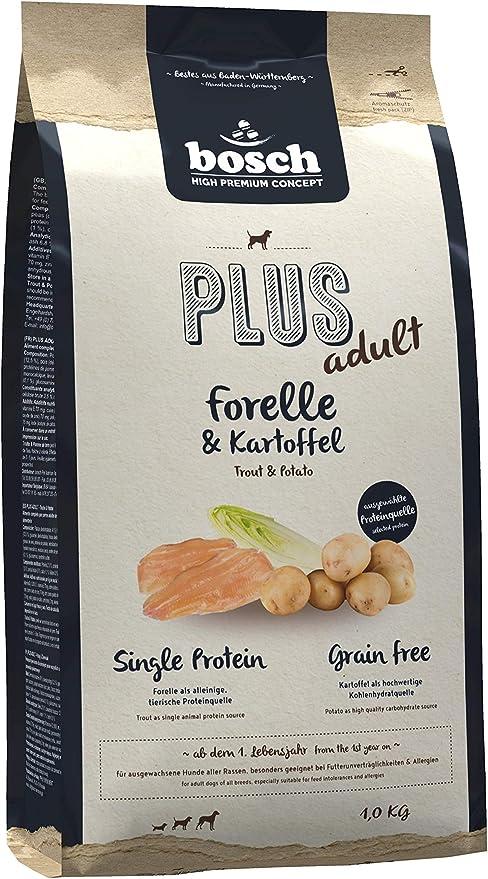 bosch HPC PLUS adult | Trucha y Patata | Comida seca para perros adultos de todas las razas | Sin cereales | 1 kg
