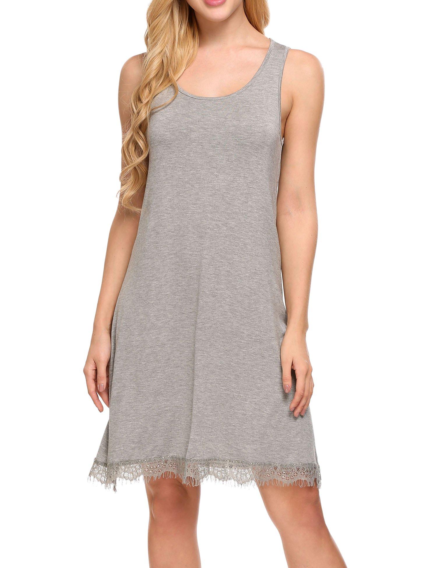 Unibelle Damen Nachthemd Satin Ärmellose Negligee Spitzesaum Nachtkleid Sleepshirt Baumwolle Lounge Kleid Negligee A-Line
