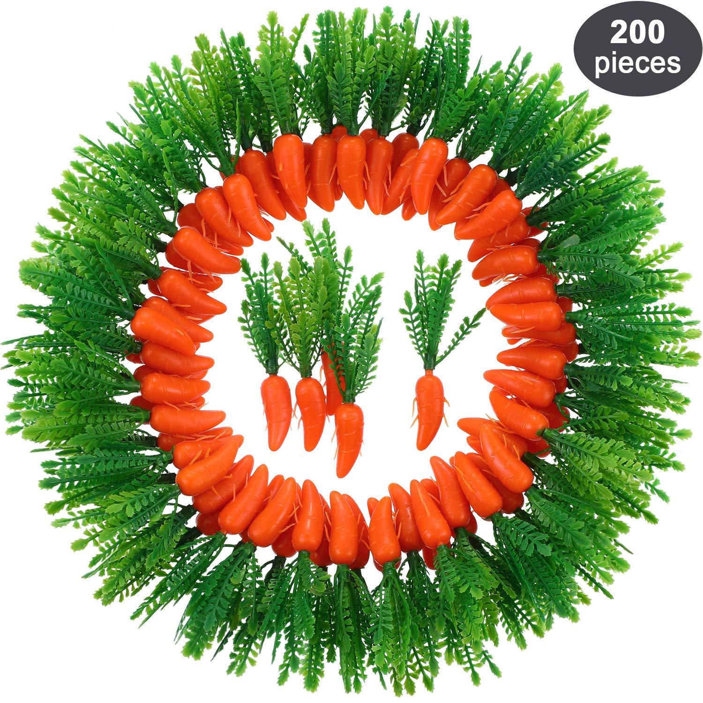 100 Paquets Zonon Carottes de P/âques Ornements de Mini Carottes Artificielles en Plastique pour DIY Artisanats D/écorations de Maison Cuisine F/ête