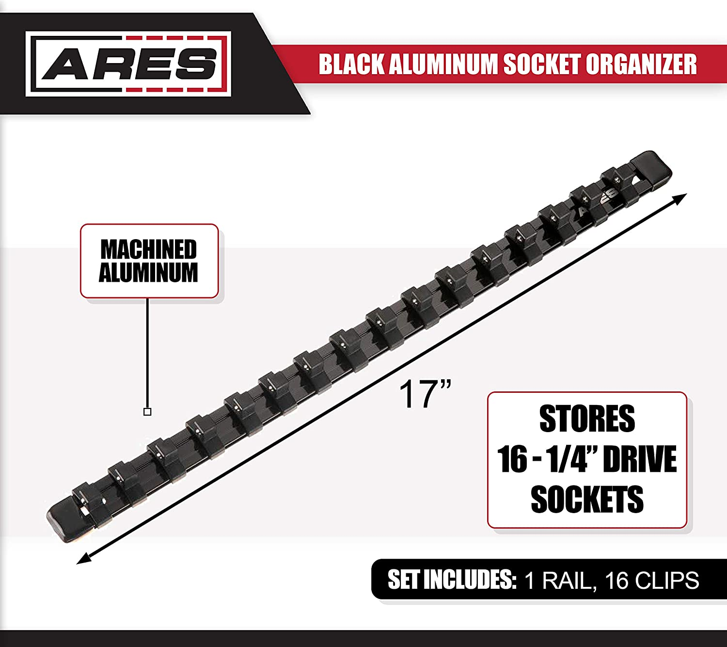 ARES 70238-3//8-Inch Drive 6-Inch Socket Organizer Aluminum Rail Stores up to 5 Sockets and Keeps Your Tool Box Organized