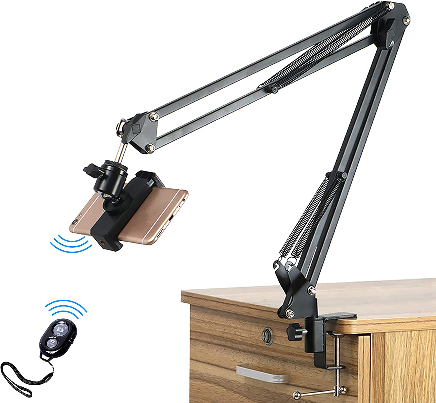 Pixlplay - Arm Stand Phone Holder with Bluetooth Remote Articulated Suspension Boom Scissor for Table Desktop Mount Overhead Filming Compatible with iPhone Samsung GoPro Sony Action Camera
