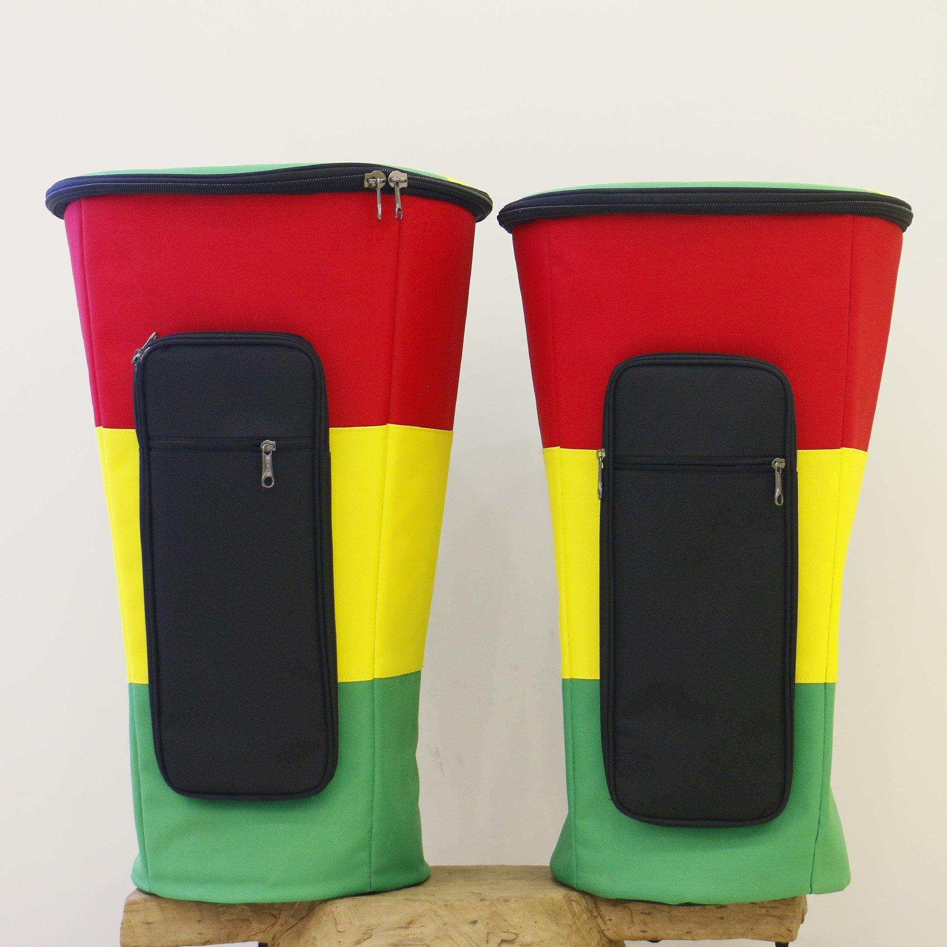 12 INCH Percussion African Drum Bags Red Yellow Green Heavy Duty Cloth Waterproof Tambourine Djembe Drum Storage Case with Adjustable Double Shoulder Strap GB02 (12 inch)