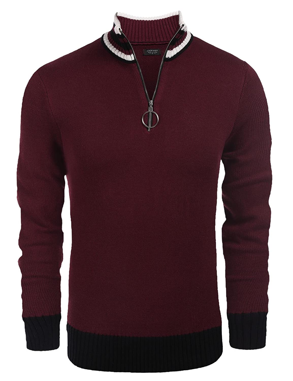 COOFANDY Men's Slim Fit Casual Long Sleeve Quarter-Zip Knit Sweater Pullover ETJ006580
