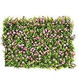 Siepe artificiale, pianta artificiale, erba, fiore, foglia, siepe per decorazione casalinga ornamento, giardini, balconi e terrazze, 63 cm x 44 cm
