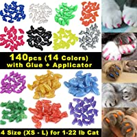VICTHY 140pcs Cat Nail Caps, Colorful Pet Cat Soft Claws Nail Cover for Cat Claws with Glue and Applicators Medium Size