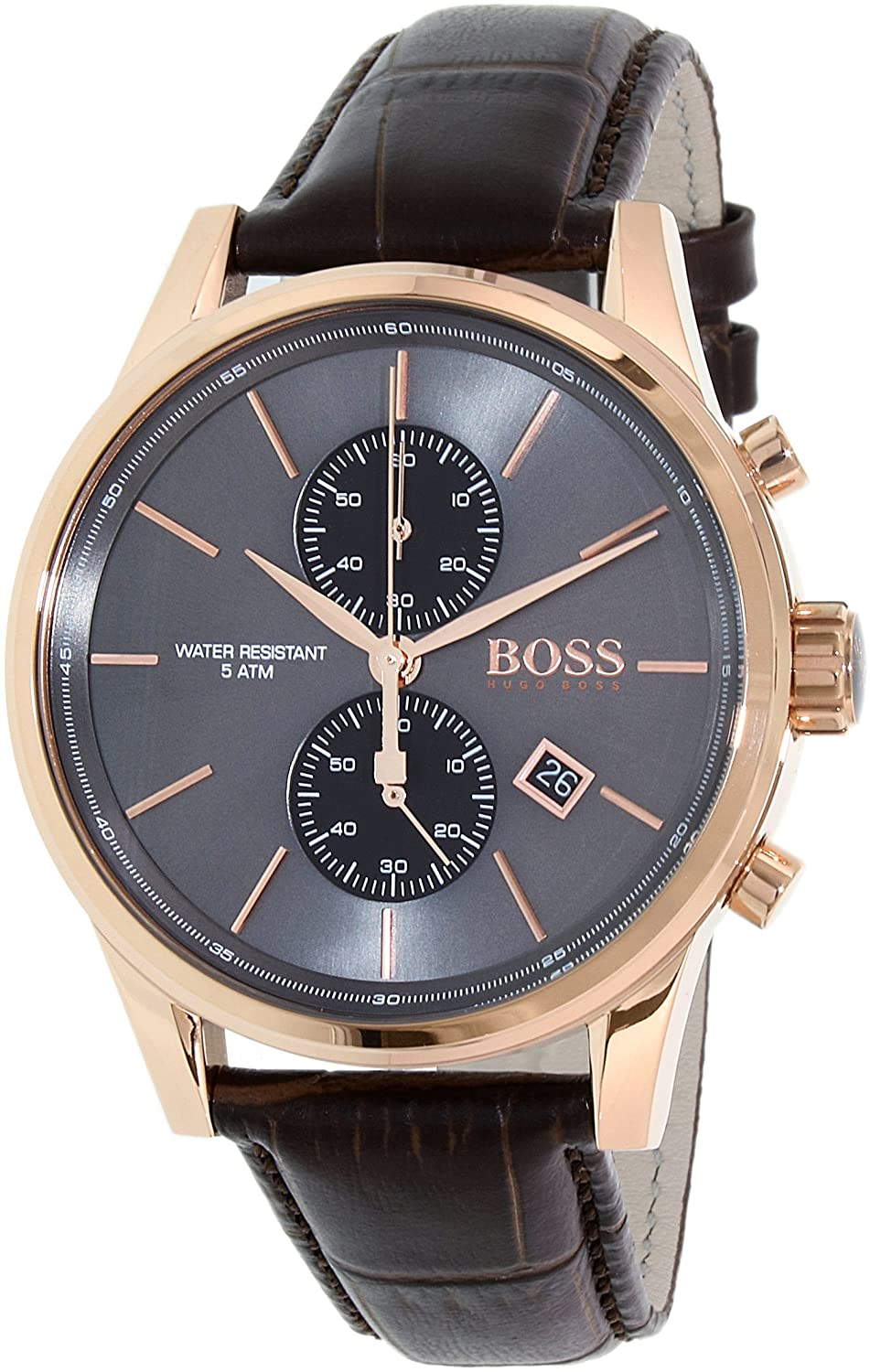 hugo boss 1513281 42mm stainless steel case brown calfskin mineral hugo boss 1513281 42mm stainless steel case brown calfskin mineral men s watch hugo boss amazon co uk watches