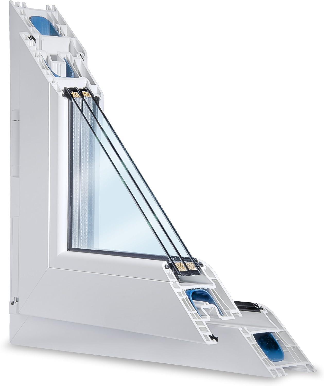 Fenster weiss 3-fach verglast 81x87 DK-Rechts BxH als Ma/ßanfertigung kipp- und drehbar