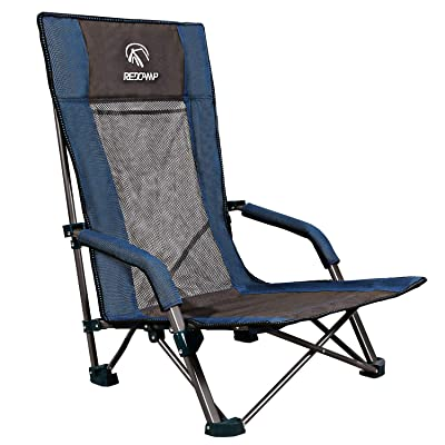 REDCAMP Low Beach Chairs Folding Lightweight with High Back and Headrest, Portable Sand Chairs for Adults Outdoor Concerts Sports Events Camping Backpacking, Blue: Kitchen & Dining
