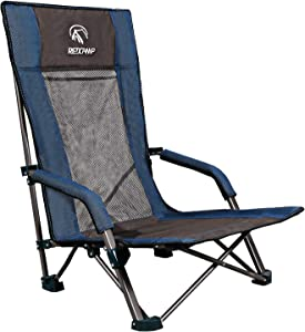 REDCAMP Low Beach Chairs Folding Lightweight with Low/High Back and Headrest, Portable Sand Chairs for Adults Outdoor Concerts Sports Events Camping Backpacking