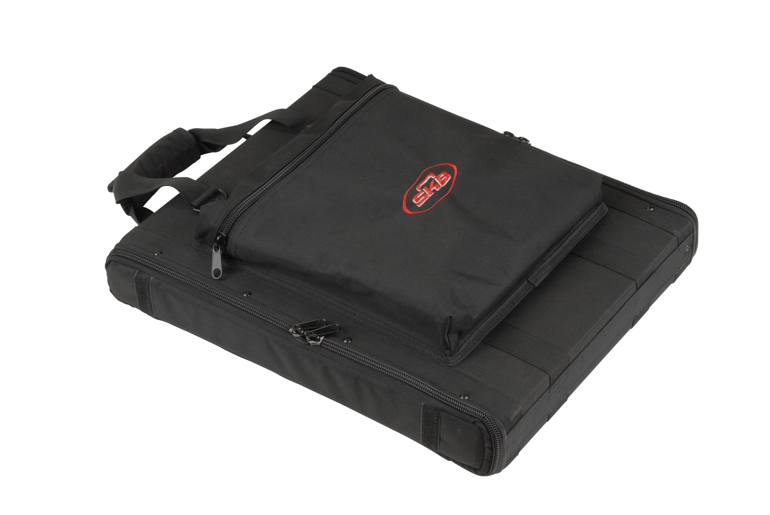 SKB 1U Soft Rack Case, Steel Rails, Heavy Duty zippers, outer pocket, Shoulder straps by SKB