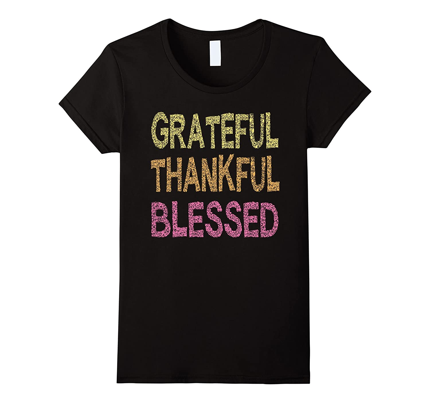 Womens Thankful Grateful Blessed T-Shirt Funny Thanksgiving Shirt-AZP