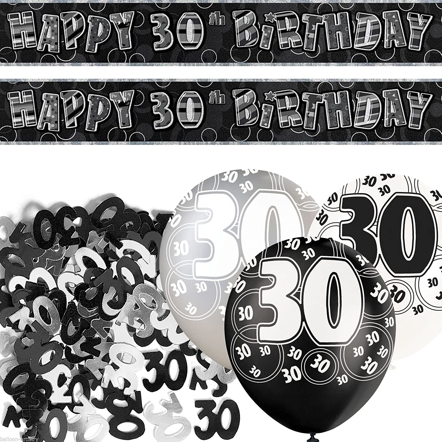 GLITZ BLACK AGE 13 CONFETTI HAPPY BIRTHDAY PARTY TABLEWARE DECOR HOLOGRAPHIC