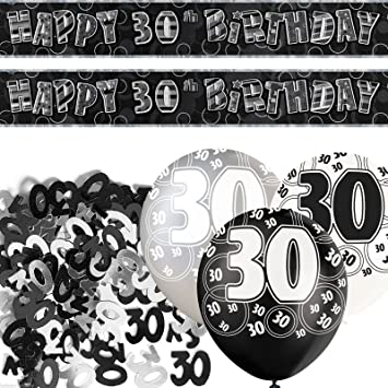 Black Silver Glitz 30th Birthday Banner Party Decoration Pack Kit Set