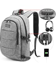 Tzowla Business Laptop Backpack Anti-Theft College Backpack with USB Charging Port and Lock 15.6 Inch Computer Backpacks for Women Men, Casual Hiking Travel Daypack (Gray)