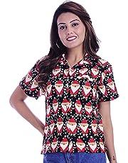Virgin Crafts Christmas Vacation Hawaiian Shirts Womens Front-Pocket Ladies Blouse Santa
