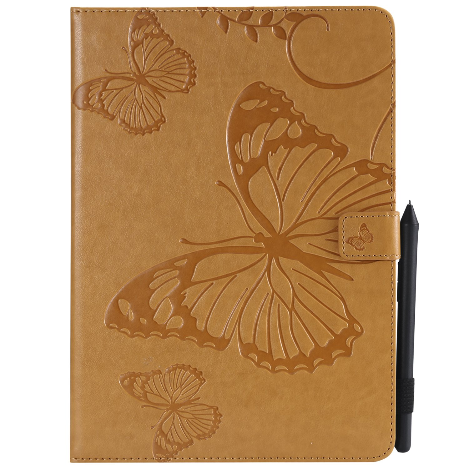Bear Village iPad Pro 9.7 Inch Case, Butterfly Embossed Anti Scratch Shell with Adjust Stand, Smart Stand PU Leather Case for Apple iPad Pro 9.7 Inch, Yellow by Bear Village
