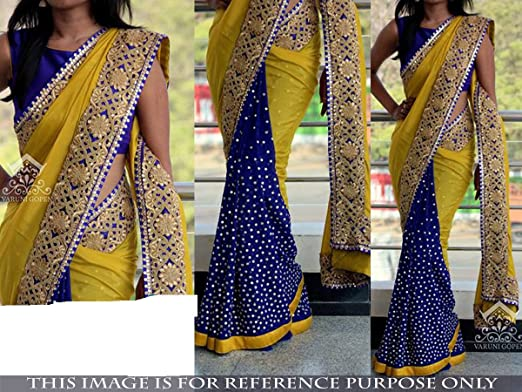 5ef21f0df2d1c5 Amazon.com: Indian Trends Exclusive Designer Blue and Yellow Grorgette  Bollywood Replica Saree: Clothing