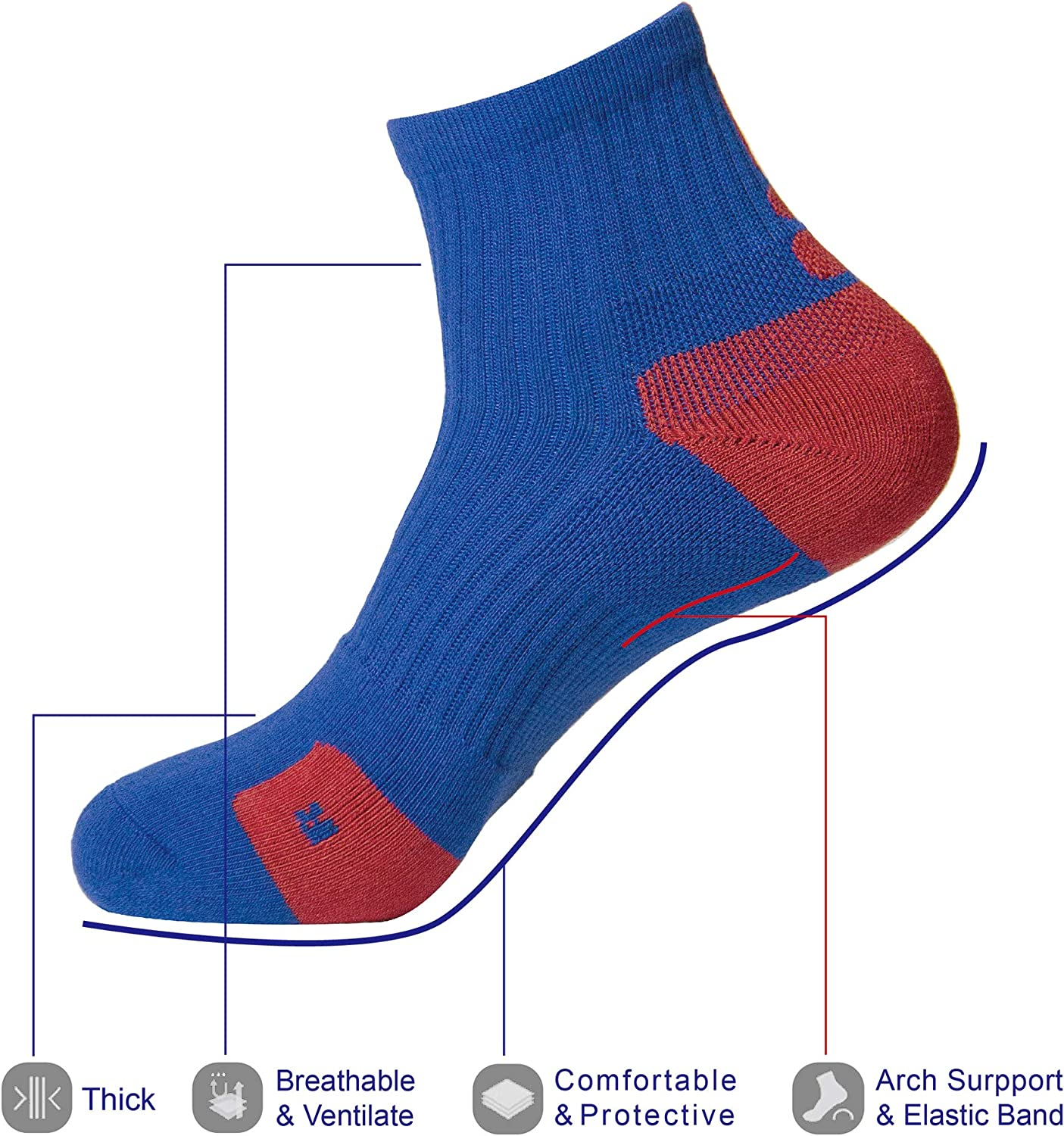 2 Packs, white-blue, blue-red Men/'s Outdoor Socks Elastic Sports Cushioned Athletic Short Basketball Socks with Compression
