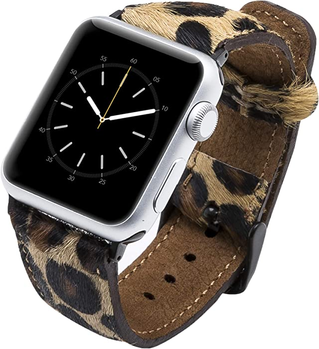 Venito Tuscany Leather Watch Band Compatible with Apple Watch 38mm 40mm - Watch Strap Designed for iwatch Series 1 2 3 4 5 6 (Furry Leopard w/Black Connector & Clasp)