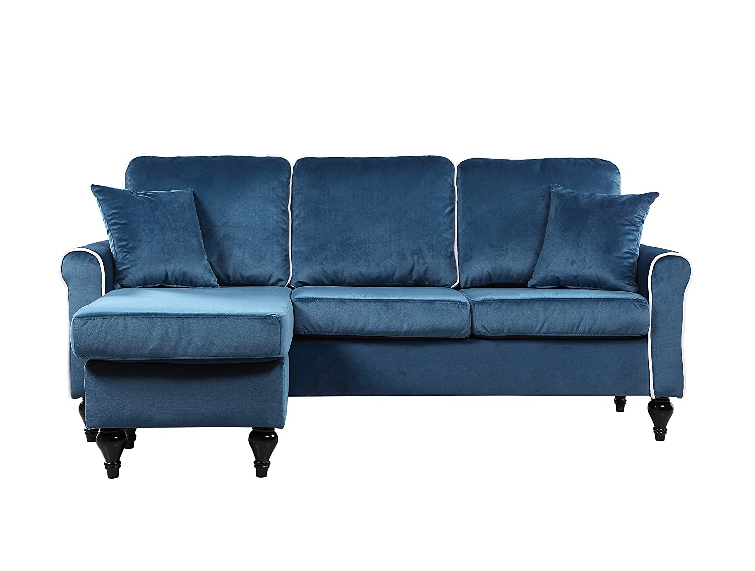 Amazon: Classic And Traditional Small Space Velvet Sectional Sofa With  Reversible Chaise (blue): Kitchen & Dining