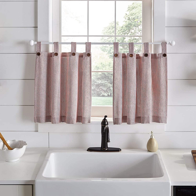 Elrene Home Fashions Tucker Ticking Stripe Window Kitchen/Café and Bath Tier Set of 2, 30