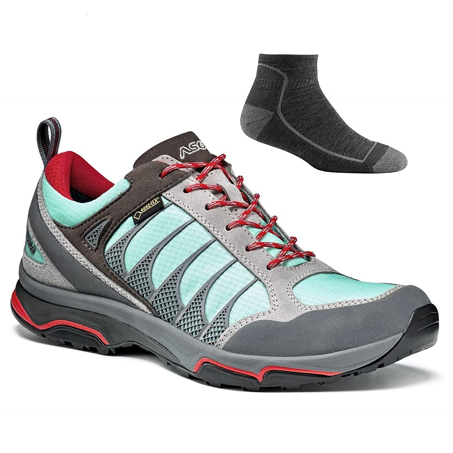 Asolo Women's Blade GV Hiking Shoes B071XZ65YN 10 B(M) US|Silver/Poolside W/ Socks
