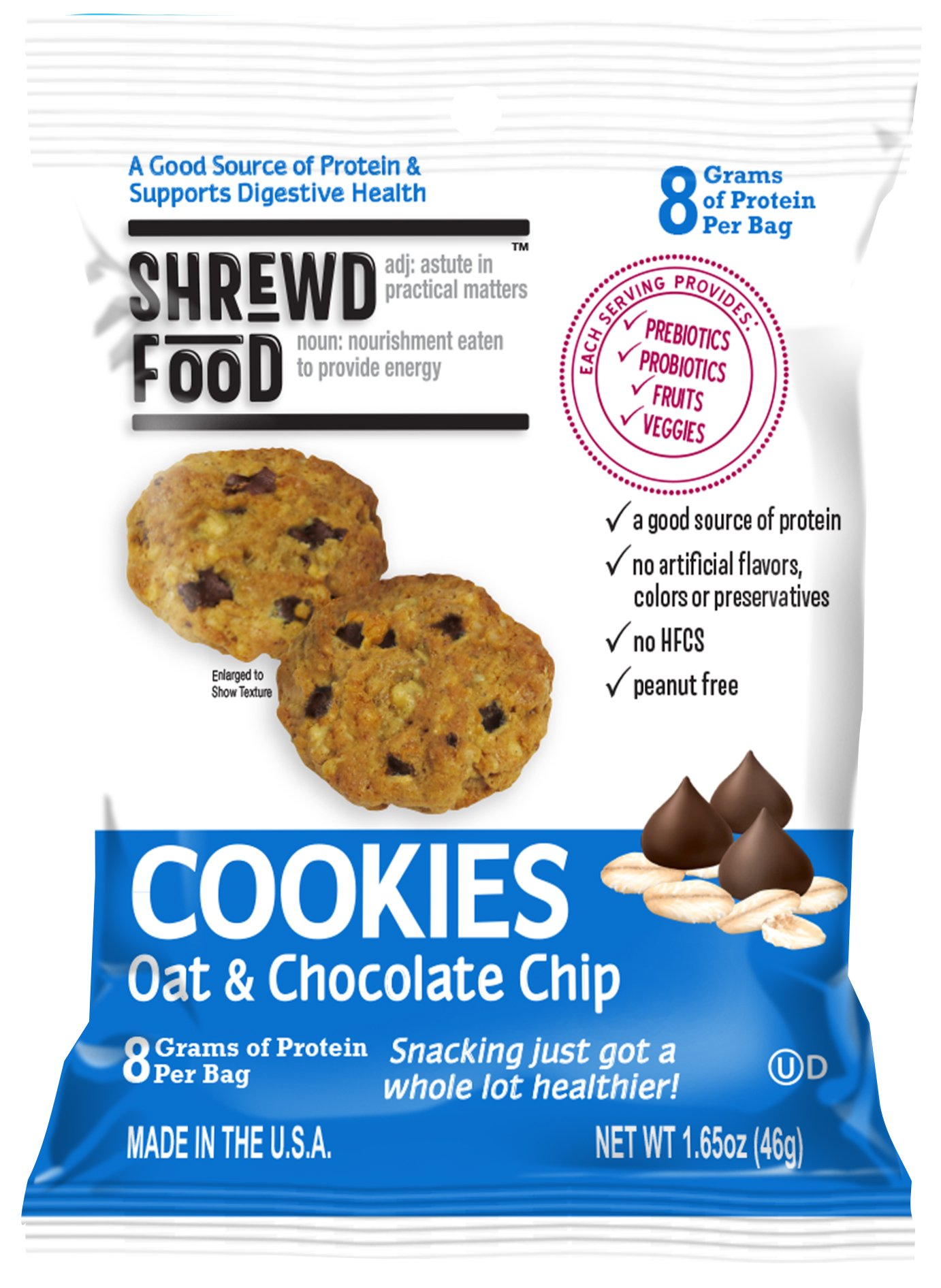 Shrewd Food Oat and Chocolate Chip Cookies | Great Tasting High Protein Cookie | 1 Billion CFU Pre and Probiotics | 1 Serving of Fruits and Veggies | 9 Pack