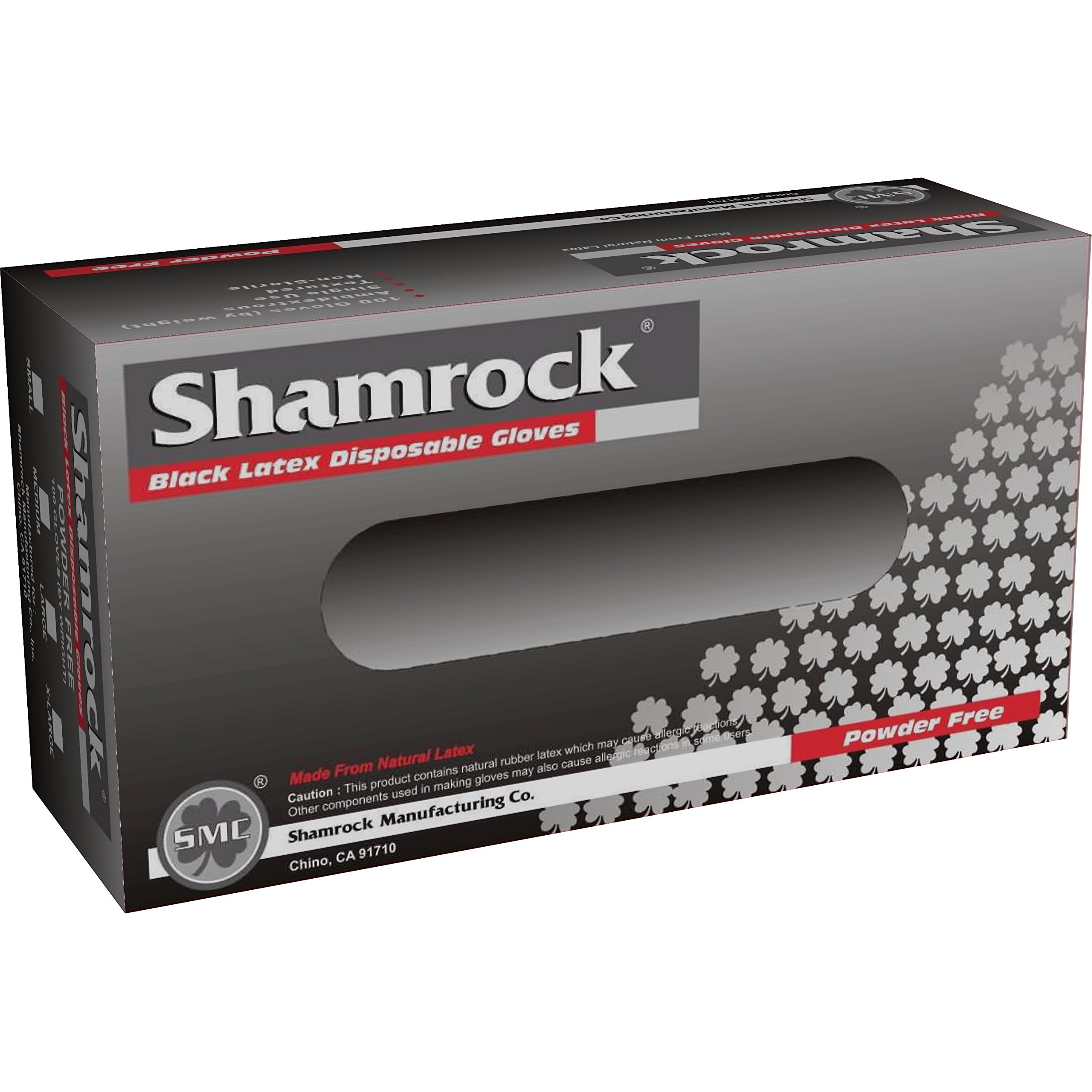 Shamrock Black Latex Disposable Gloves Powder-Free Textured (Case of 1000) xsmall by Shamrock