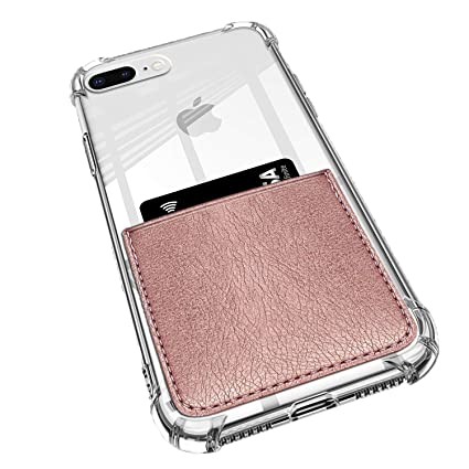 ANHONG iPhone 7 Plus / 8 Plus Clear Case with Leather Card Holder, [Slim Fit] Protective Soft TPU Shockproof Case with Vegan Leather Card Holder (Rose ...