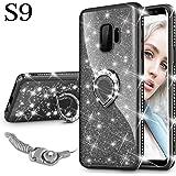 Maxdara Samsung Galaxy S9 Case, Galaxy S9 Protective Glitter Sparkle Cute Shiny Case Bling Diamond Rhinestone Ring Stand Kickstand Rubber Bumper Girls Women case for Galaxy S9 5.8 inch (Black)