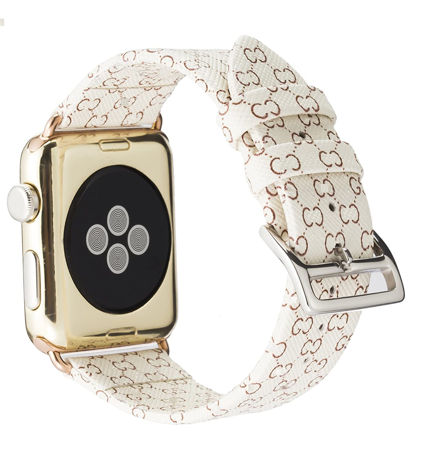 for-apple-watch-band-42mm-fashion-leather-iwatch-sport-series-1-series-2-series-3-strap-for-women-men-color-rose-gold-metal-buckle-(beige-42mm) by goosuu