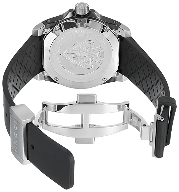 17c0ffa56e7 Buy Gucci Dive Stainless Steel Men s Watch with Black Rubber Band(Model  YA136303) Online at Low Prices in India - Amazon.in