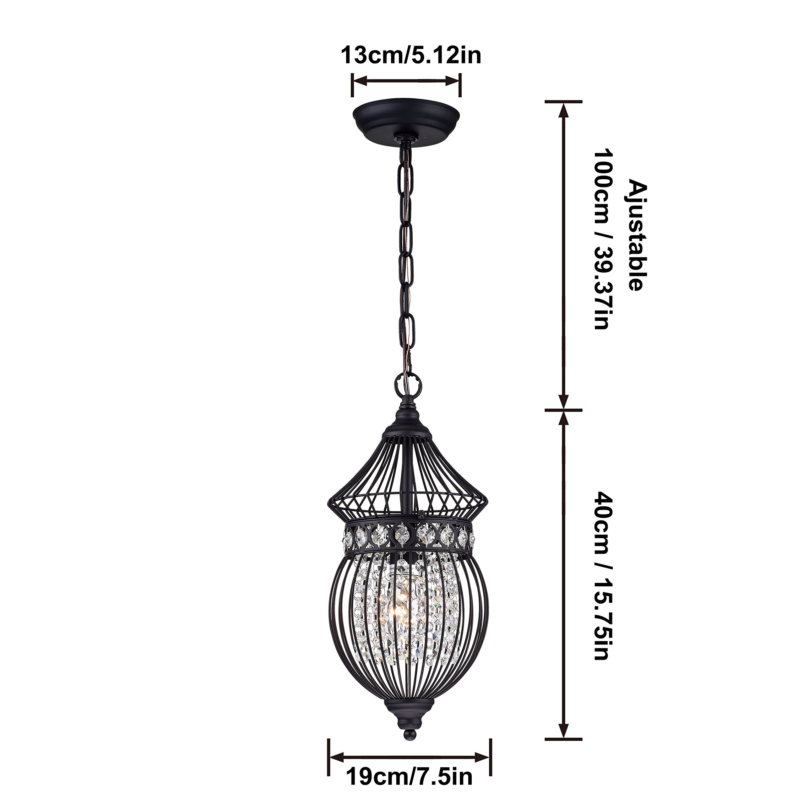 Black Chandeliers Crystal Chandelier Lighting Farmhouse Lighting Fixtures 1 Light 17045 by LaLuLa (Image #6)