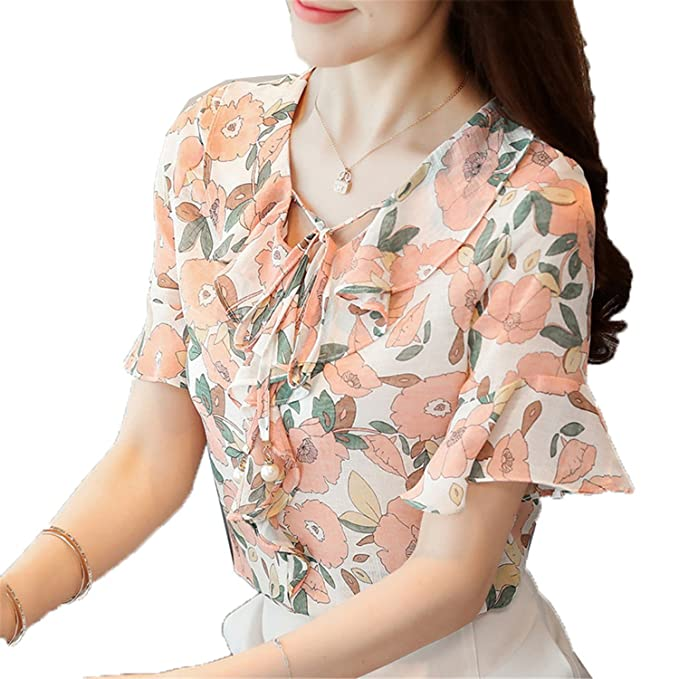 Li-Never Women Summer Chiffon Tops Printed Shirt Bow Flare Sleeve Blouse Ruffle Floral Blusas at Amazon Womens Clothing store: