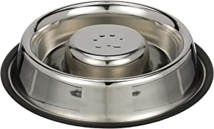 NEATER PET BRANDS Slow Feed Bowl Stainless Steel Metal (Non Tip Style) - Stops Dog Food Gulping, Bloat and Rapid Eating